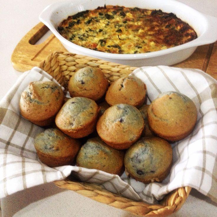 Blueberry muffins & quiche