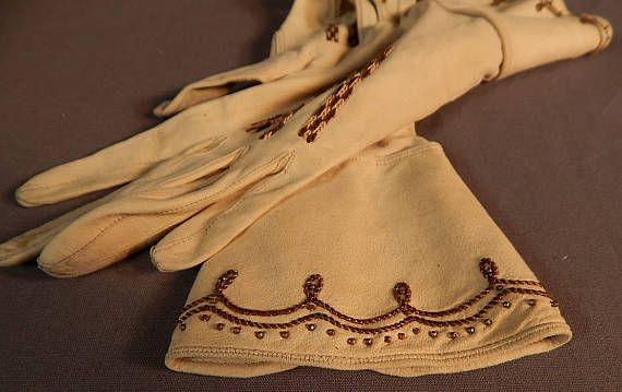 FAB Edwardian  Gauntlet Gloves Victorian leather bronze