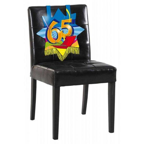 Stoeldecoratie 65 jaar. Mooie verjaardags decoratie voor op de stoel voor iemand die 65 jaar geworden is! De versiering is ongeveer 34 x 36.5 cm groot.
