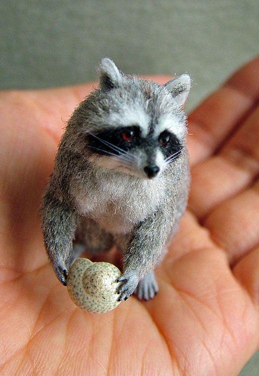 Amazing needle felted raccoon