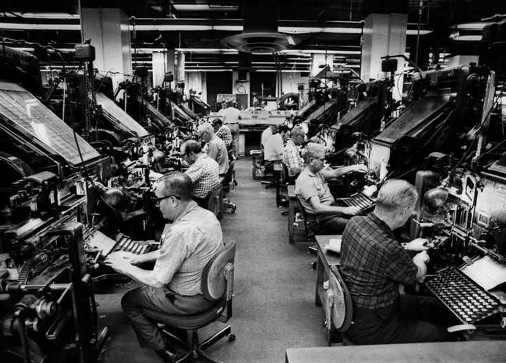 Linotype operators typeset the next day's New York Times, during a surge in newspaper sales owing to the publication of the Pentagon Papers, 1971.