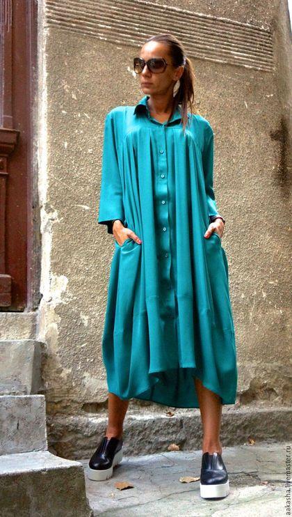 Платье длинное яркое платье изумрудное платье свободное платье красивое платье на пуговицах легкое платье изумрудный цвет