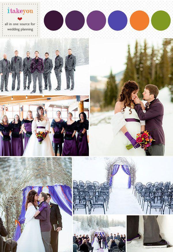 Purple Winter Wedding Colour Palette Orange Green Colours