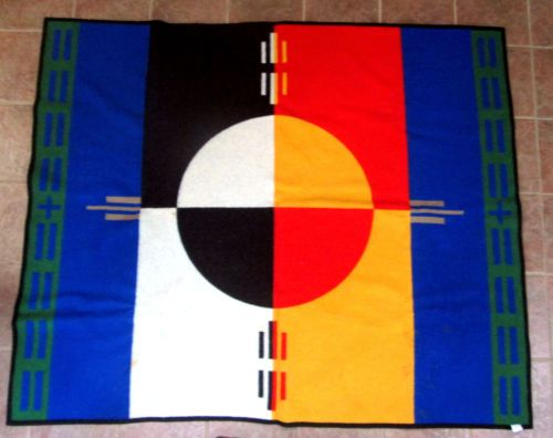 PENDLETON-Wool-Blanket-BEAVER-STATE-ELDERS-CIRCLE-OF-LIFE-BLANKET-72X62-USED