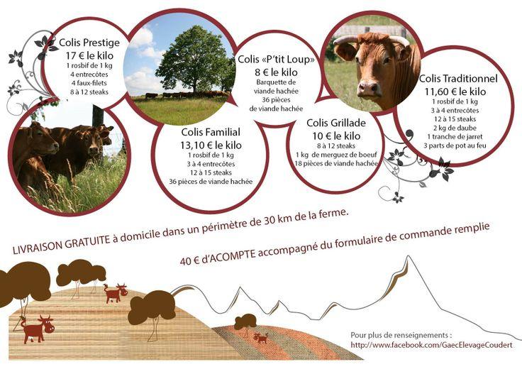 Flyer (intérieur) 3 volets pour la vente directe de viande bovine du GAEC Elevage Coudert