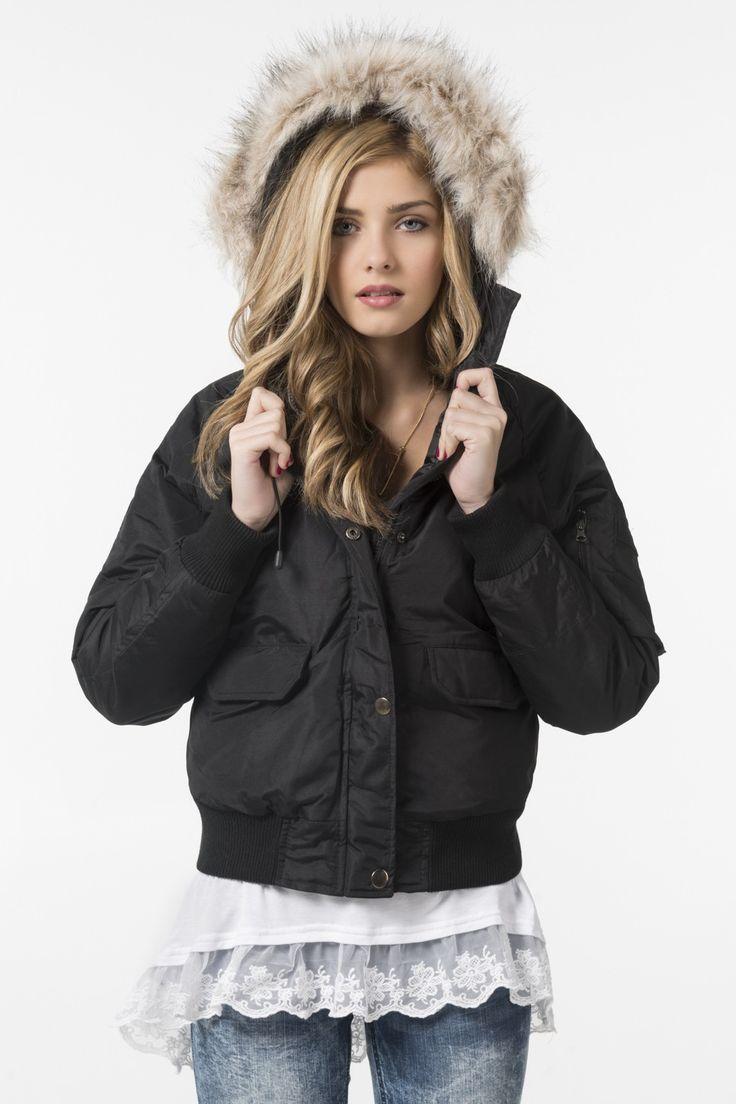 Black 82° North winter bomber jacket.