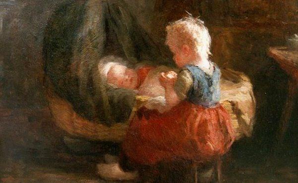Evert Pieters (1856 – 1932, Dutch)  Girl With Baby In Rocking Cradle