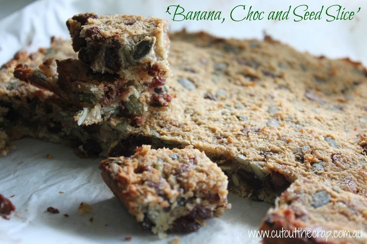 Back to School. Nut free. Slice. Gluten free. Dairy free. Preservative free. Additive free. Cut out the Crap. http://www.cutoutthecrap.com.au/banana-choc-and-seed-slice/