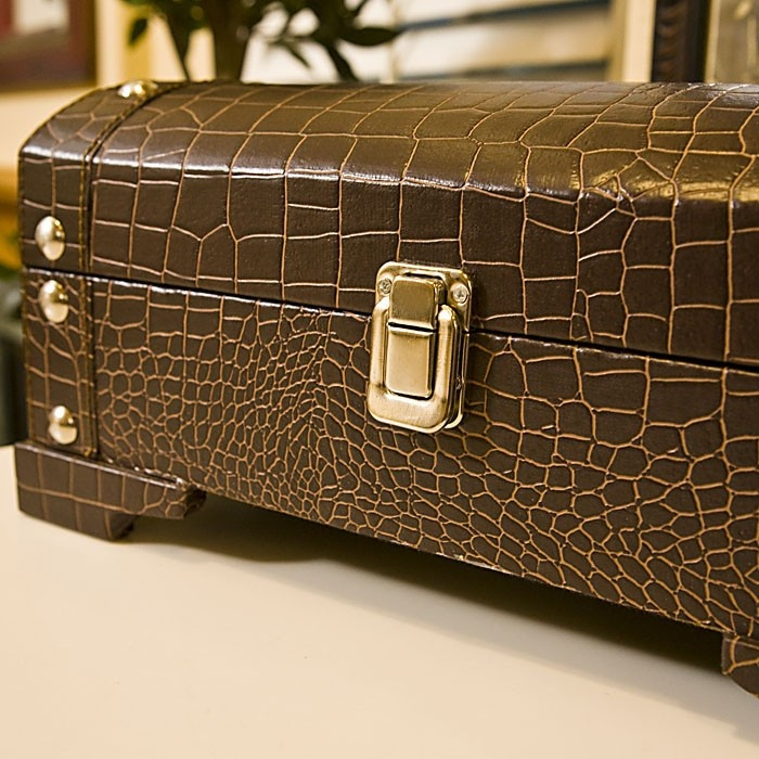 The low trunk is a beautiful item that will look great in offices, bedrooms, or even sitting on a shelf in the living room. More detail please visit: http://www.caspiangifts.com/ck-croco-low-trunk.html