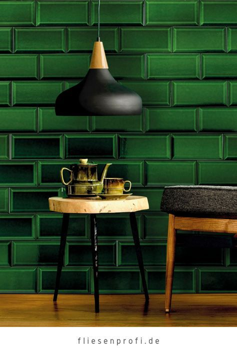 Metro Fliese dunkelgrün victorian green glänzend 10×20 Wandfliese Bad, Küche Facettenfliese Fabresa