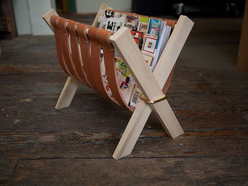 Leather and wood magazine rack.