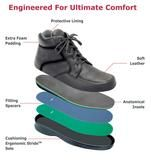 Orthofeet Highline - Black men's boots are designed with unique comfort features to offer the best men's comfort boots, best men's walking shoes, best men's diabetic boots, the best men's boots for neuropathy, the best men's orthopedic boots, the best men's therapeutic boots, the best men's arthritis boots, the best men's wide boots, best extra wide men's boots, and the best xx wide men's boots.