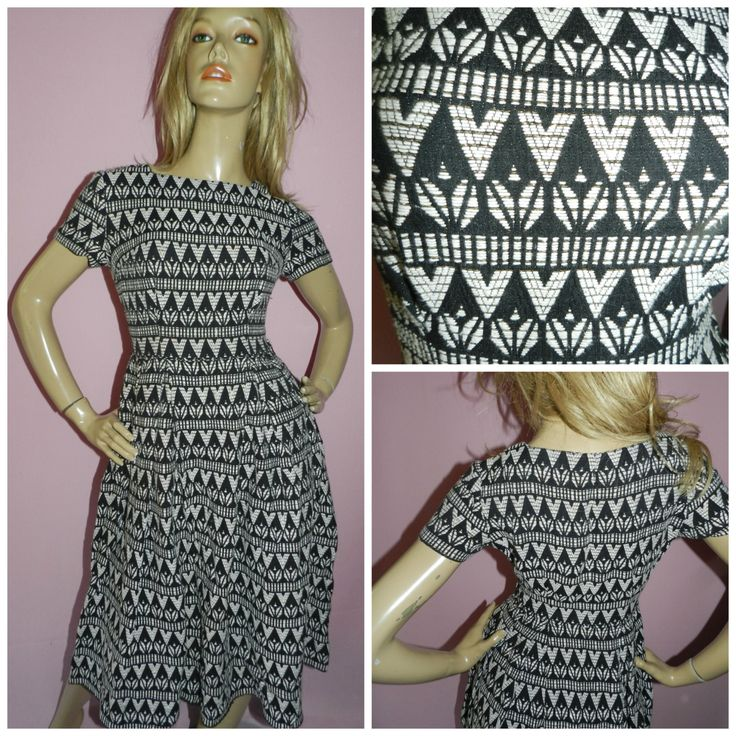 Vintage 50s Black/White/Gold AZTEC Print TEA dress 8 XS S 1950s Party Cocktail Mid Century by HoneychildLoves on Etsy