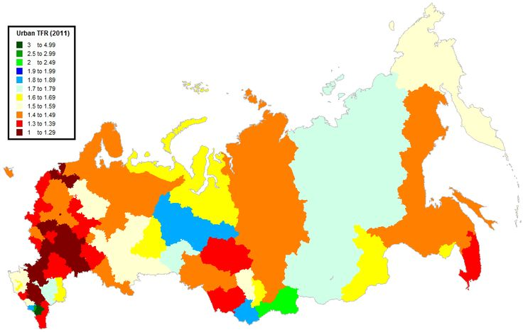 Urban Total Fertility Rate (TFR) for Russia in 2011