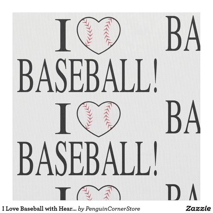 I Love Baseball with Heart-Shaped Baseball Fabric