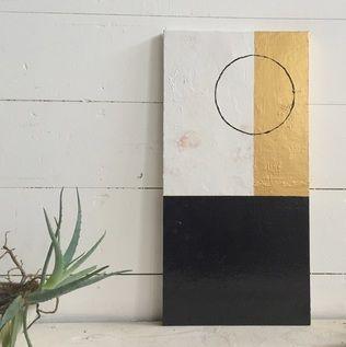 BLACK CIRCLE Original Minimalist Abstract Acrylic on Canvas Varnish finish black, gold & white stretched stapled back canvas