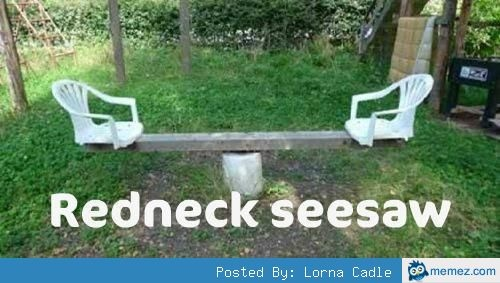 Redneck seesaw, so wrong that I think it's a great idea!