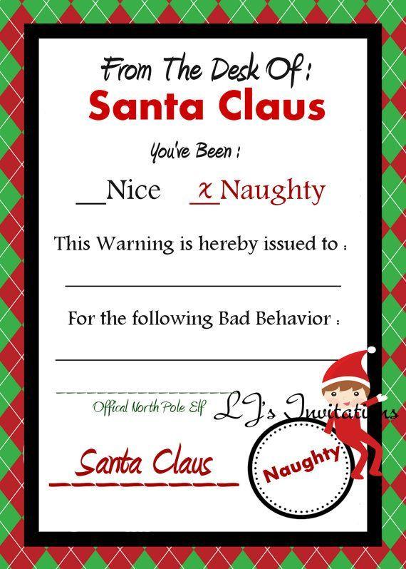 image result for elf on the shelf warning letter