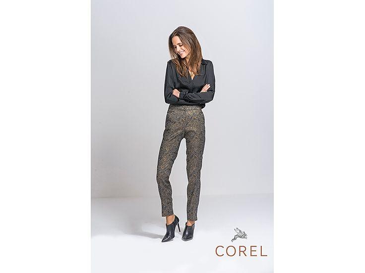 Prachtige nieuwe Corel broek met een brokaat weefsel en een subtiele gouden glans: erg chique! #corel #broeken #brokaat #conceptstore #weidesign #hipshopshaarlem
