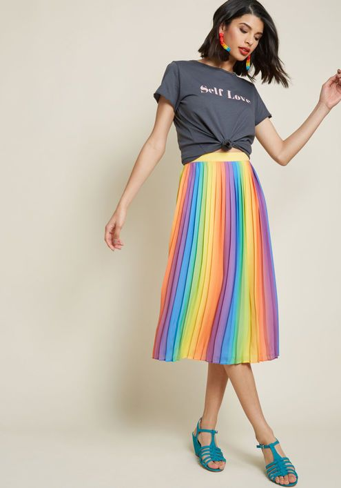00aa72ea17 Beautifully Upbeat Pleated Midi Skirt in Rainbow - This rainbow midi skirt  from our ModCloth namesake label will be quite 'pleats' to make your  wardrobe's ...