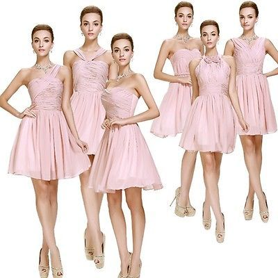 Pink Prom Cocktail Gowns Chiffon Bridesmaid Short Dresses Party 6 Types 5031