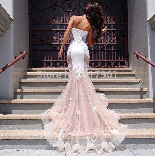 Fashionable Mermaid Prom Dress Sweetheart Neck See Through Tulle with Appliques Floor Long Prom Dresses 2015 Sexy Vestidos PD110