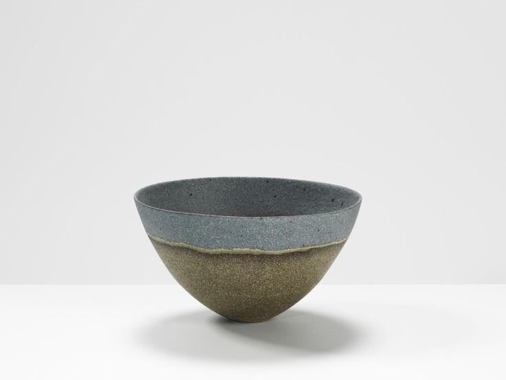 Jennifer Lee  Dark, blue rim, speckled haloed, 1999 Handbuilt coloured stoneware, 8.7 x 15.8 cm