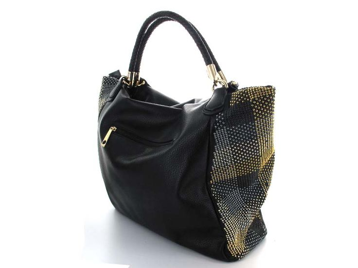 Black Metallic Studded Hobo Bag - A soft hobo handbag with a braided top handle and mixed metal studded pattern on side panels. Spacious bag to hold all your essentials, equipped with a zipper enclosure, keeping your items safe and secure.  Available in; Black and Silver.