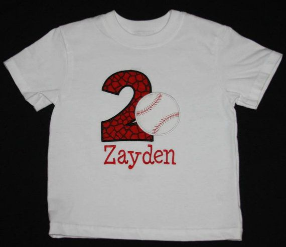 Baseball birthday applique by BoutiqfullyYours on Etsy