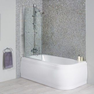 1600 x 800 Micro™ Luxury Left Handed Shower Bath With Straight Bath Screen