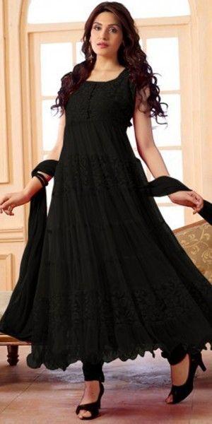 Refulgent Black Net Anarkali Suit With Dupatta.