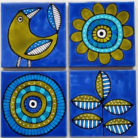 Set of 4 blue and lime coasters $45