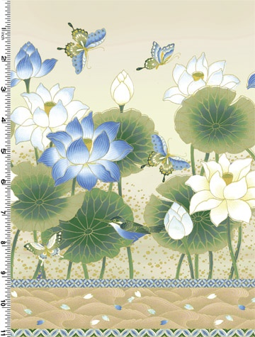 Sanctuary Collection in Beige and Blue - Border print by Kona Bay