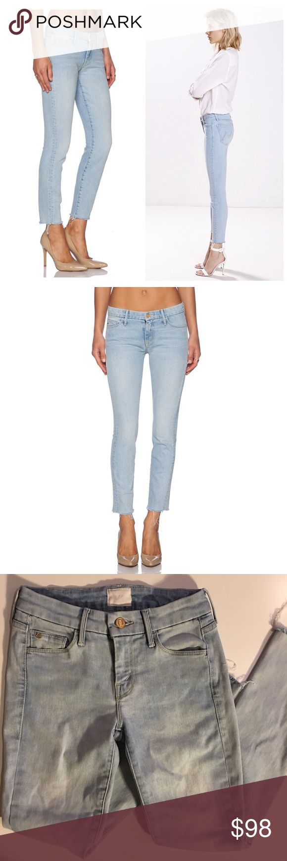 Mother Candice Swanepoe Looker Ankle Fray Jeans 24 Worn a couple of times. Washed. Like new. Raw cut Hem. Sold out everywhere. Very stretchy, could fit sizes 25-26 MOTHER Jeans Skinny
