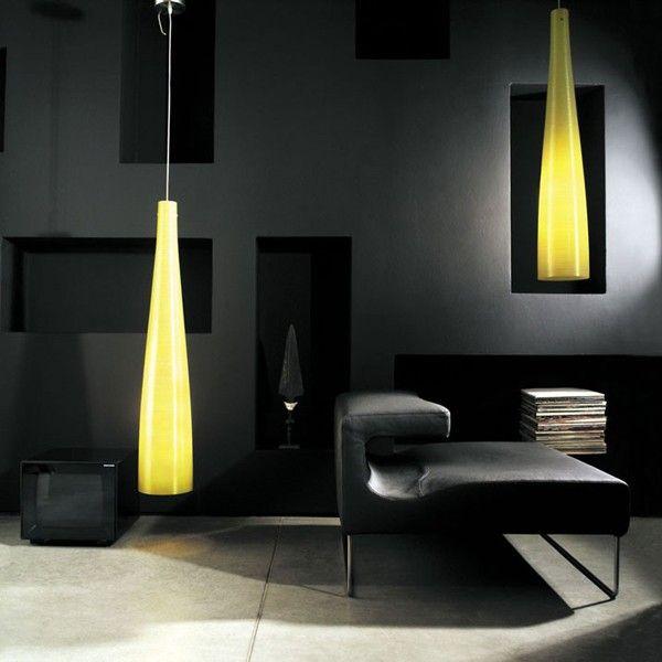#Suspension #lamp in fiberglass fabric with yellow Kevlar or black carbon thread. #light #design