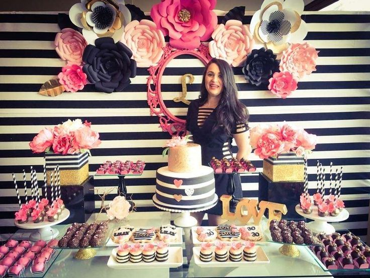 Black, white, pink and a little golden. Birthday Party Ideas | Photo 6 of 13 | Catch My Party