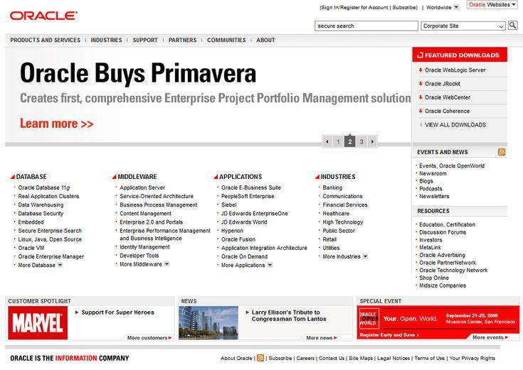 Oracle website in  2008
