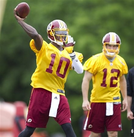 RGIII (#10) and Kirk Cousins (#12) on the Redskins rookie mini camp