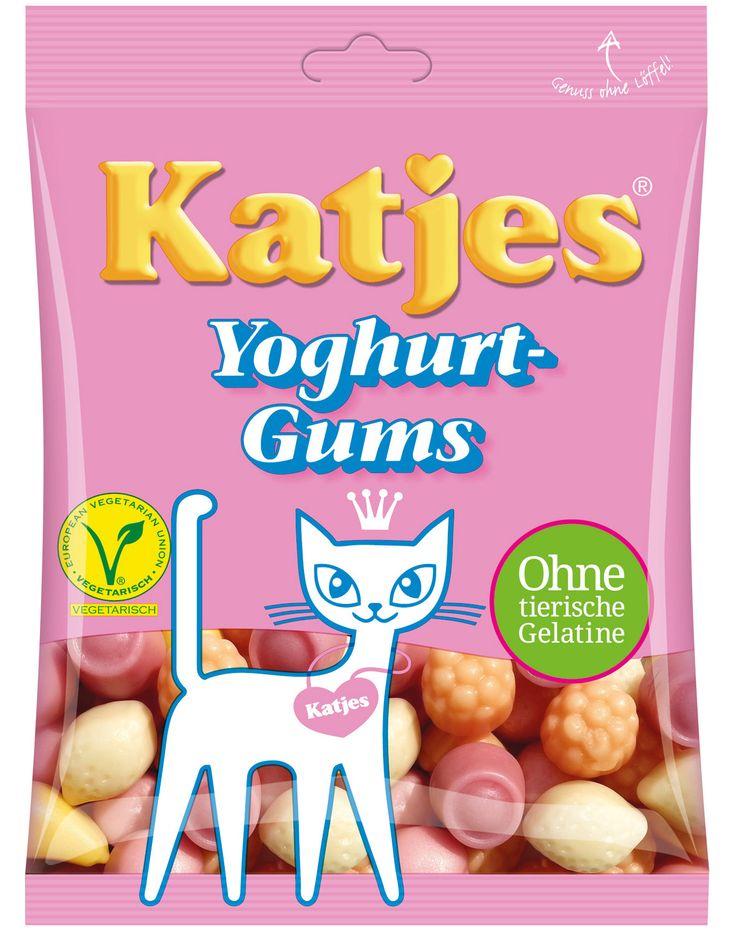 Bonbons gélifiés au yaourt écrémé de Katjes. Assortiment de parfum : cerise, raisin, myrtille, pomme... Produit végétarien sans gélatine animale et sans gluten