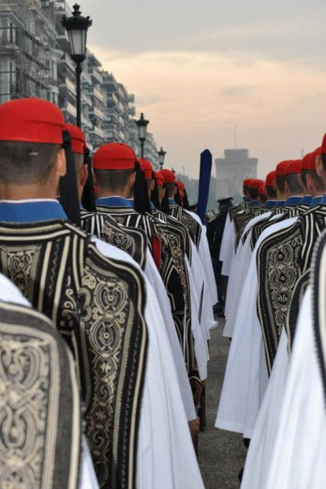 Watch the Evzones change shift outside Parliament building with their ceremonial 'dance.'  Wearing the uniform of the Klephts, mountain fighters who fought the Turks from 15th – 19th Century: white tights, white skirt, white blouse with very full sleeves, an embroidered vest, red cap and shoes with big pom-poms – they guard their Tomb of the Unknown Soldier with respect.  Tip: Go on a Sunday at 11am to witness the big event, replete with military brass band.