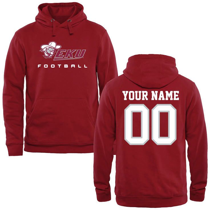Eastern Kentucky Colonels Personalized Football Pullover Hoodie - Maroon - $69.99