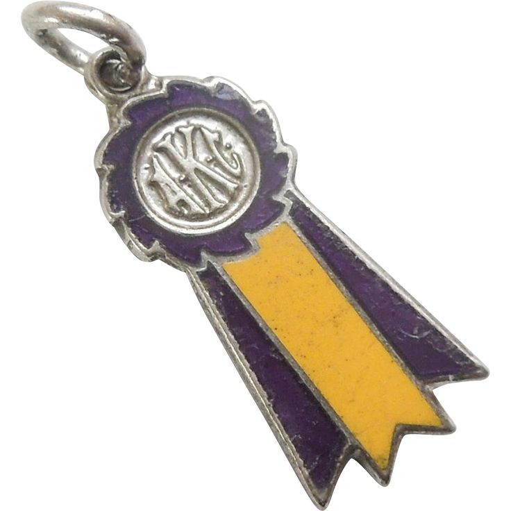 AKC Dog Show Winner's Sterling Silver and Enamel Ribbon Charm – Best of Breed Purple and Gold Ribbon..