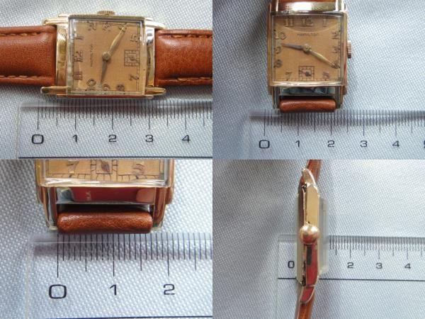 稀少★40's HAMILTON ハミルトン USA製 14金張ゴールドケース 手巻アンティーク腕時計 スモセコ角型デコ 未使用品レザーバンド付 ブラウン_画像3