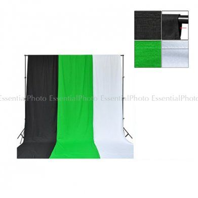 PIXAPRO 2.8M X 3M Telescopic Background Stand + Chroma Key Green/Black/White Muslin Backdrop. The PIXAPRO heavy duty Telescopic background stand system is sturdy and reliable, and can be used with muslin backdrops or with seamless paper backdrops.