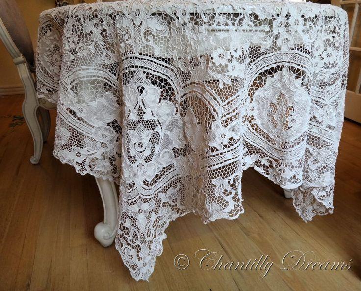 Antique Handmade Lace   Antique Point de Venise Handmade Needle Lace Tablecloth ~ Circa Late ...