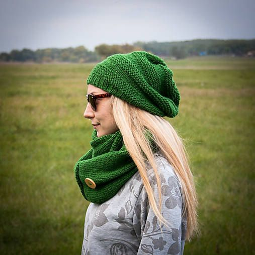Green Women Hand Knitted 2 Set / Green Slouchy by RUKAMIshop