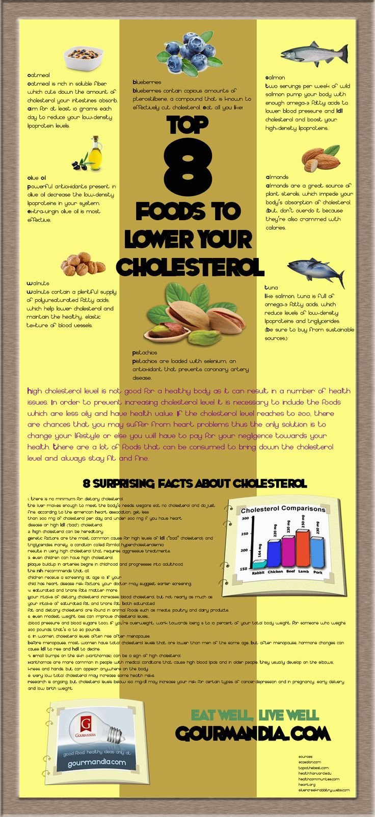 Top 8 Foods to Lower your Cholesterol Infographic