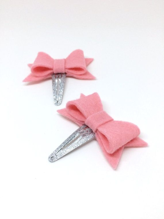 Toddler Hair Clips  Pink Felt Hair Bows  Baby by MiniMayDesigns