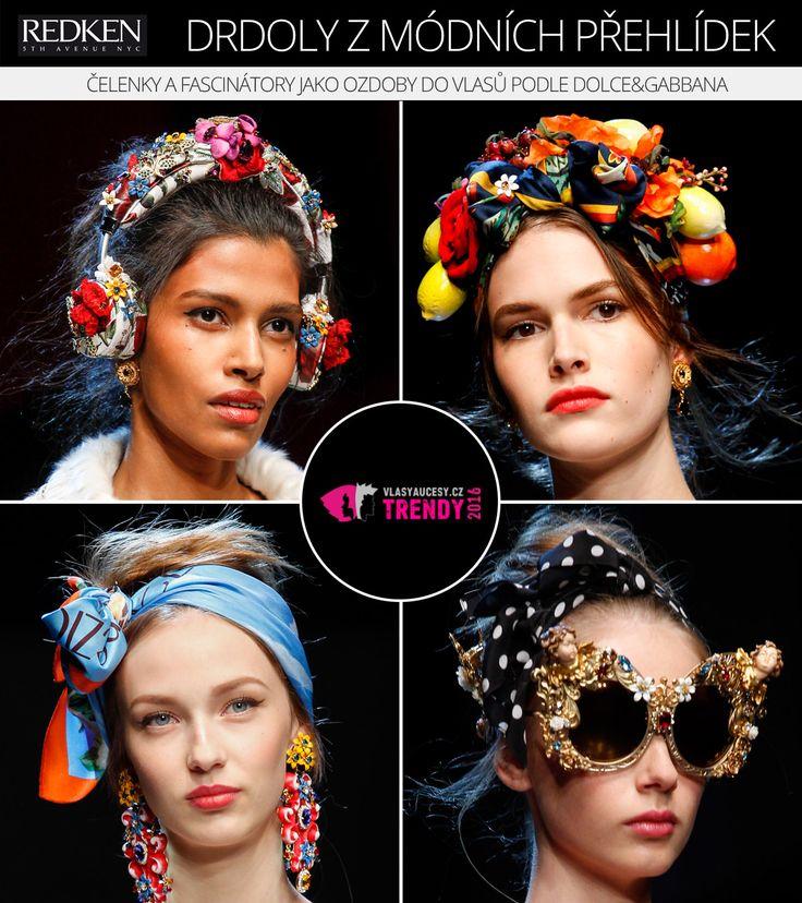 Čelenky a fascinátory jako ozdoby do vlasů a pro drdoly 2016 (Dolce&Gabbana, RTW S/S 2016).