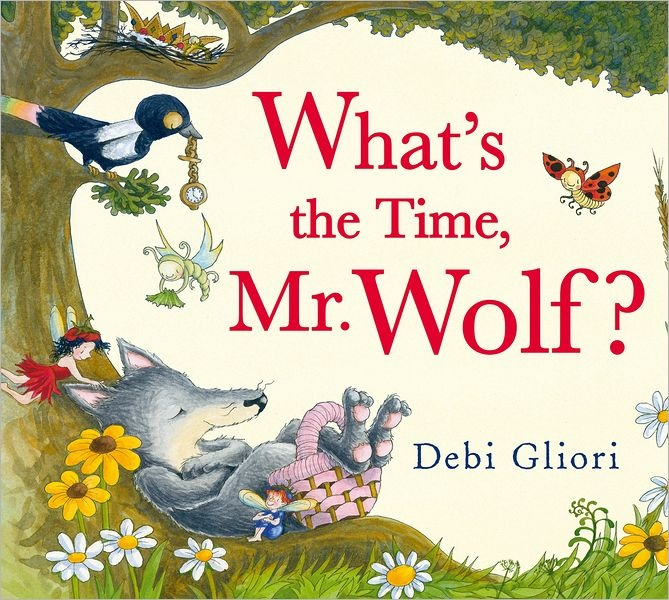 Starting a busy daily routine that he has carefully scheduled, Mr. Wolf receives mail at 9 o'clock, goes shopping at noon and takes a nap at 4 o'clock, only to be given a surprise party at 6 o'clock by friends Little Red Riding Hood, the Three Little Pigs, and the Cat and the Fiddle.